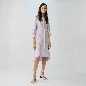 Maje White/Purple Striped Shirt Dress